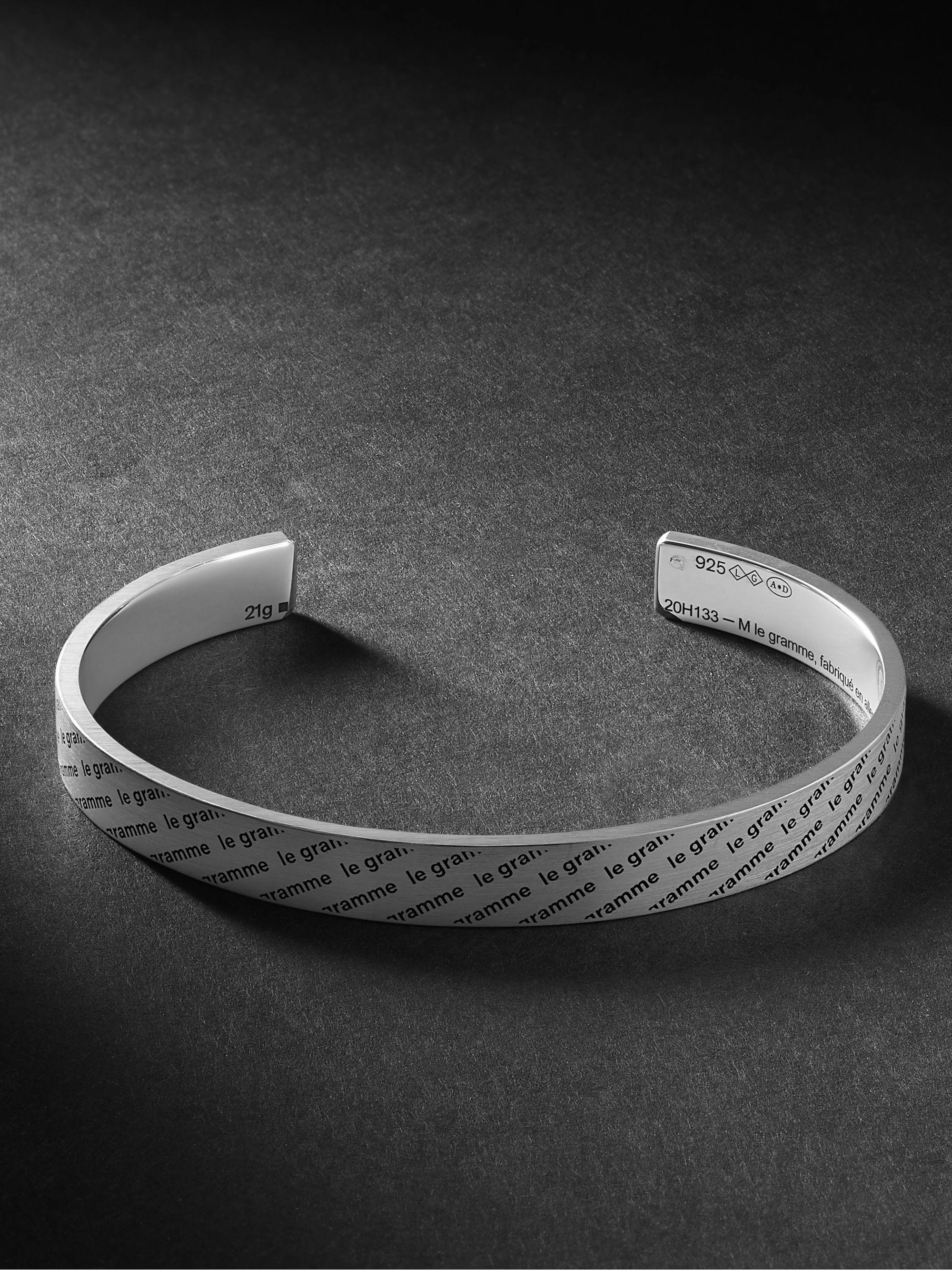 르그램 팔찌 Le Gramme Le 21 Logo-Engraved Brushed Sterling Silver Cuff