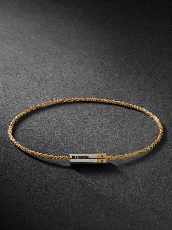 LE GRAMME 9G 18-Karat Gold and Sterling Silver Cable Bracelet