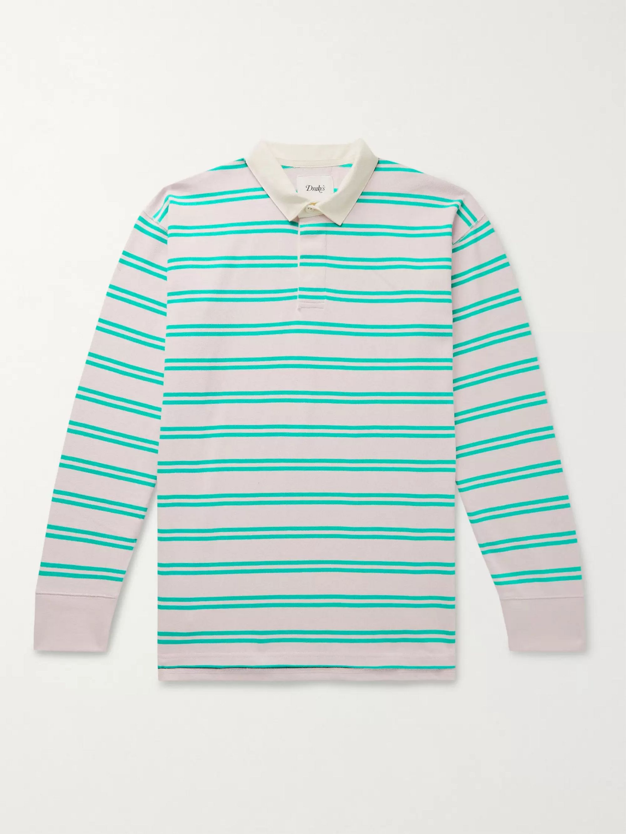 Drake's Twill-Trimmed Striped Cotton-Jersey Polo Shirt
