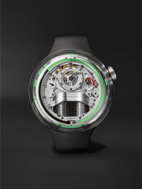 HYT H5 Limited Edition Hand-Wound 48.8mm Stainless Steel and Rubber Watch, Ref.No. H02353
