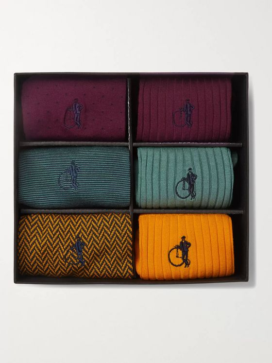 London Sock Co. Six-Pack Stretch Cotton-Blend Socks