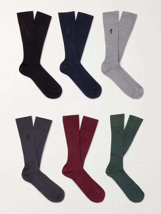 London Sock Co. Traditional Six-Pack Ribbed Stretch Cotton-Blend Socks