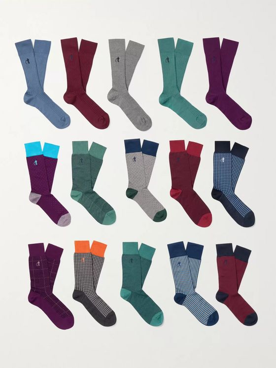 London Sock Co. 15-Pack Ribbed Stretch Cotton-Blend Socks