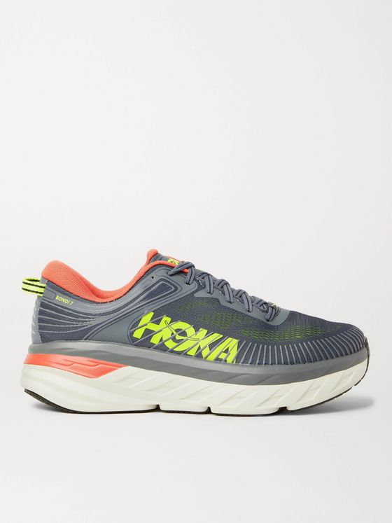 HOKA ONE ONE Bondi 7 Rubber-Trimmed Mesh Running Sneakers