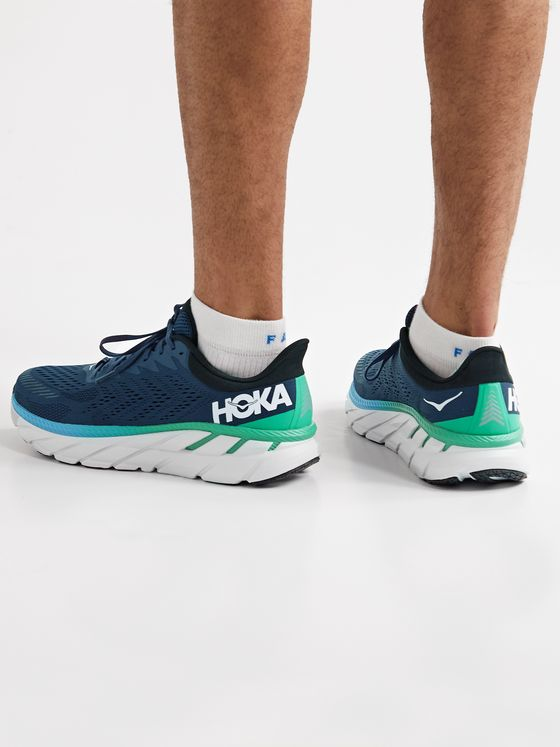 HOKA ONE ONE Clifton 7 Rubber-Trimmed Mesh Running Sneakers