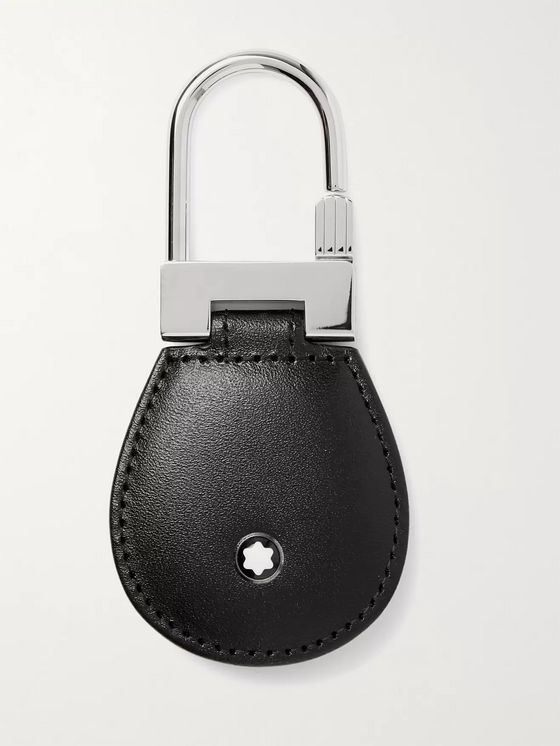MONTBLANC Meisterstück Leather and Palladium-Plated Key Fob