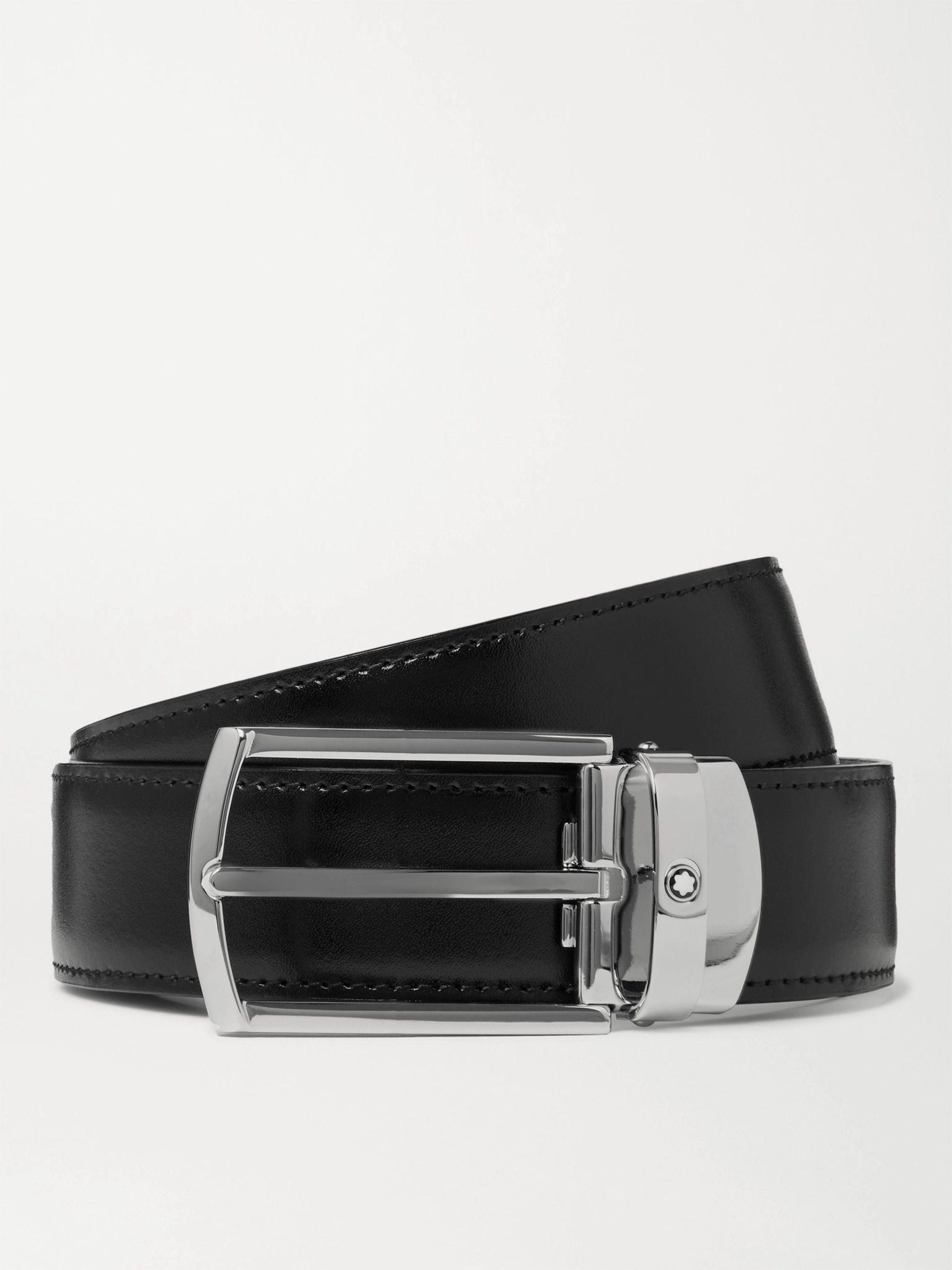 몽블랑 Montblanc 3cm Leather Belt,Black