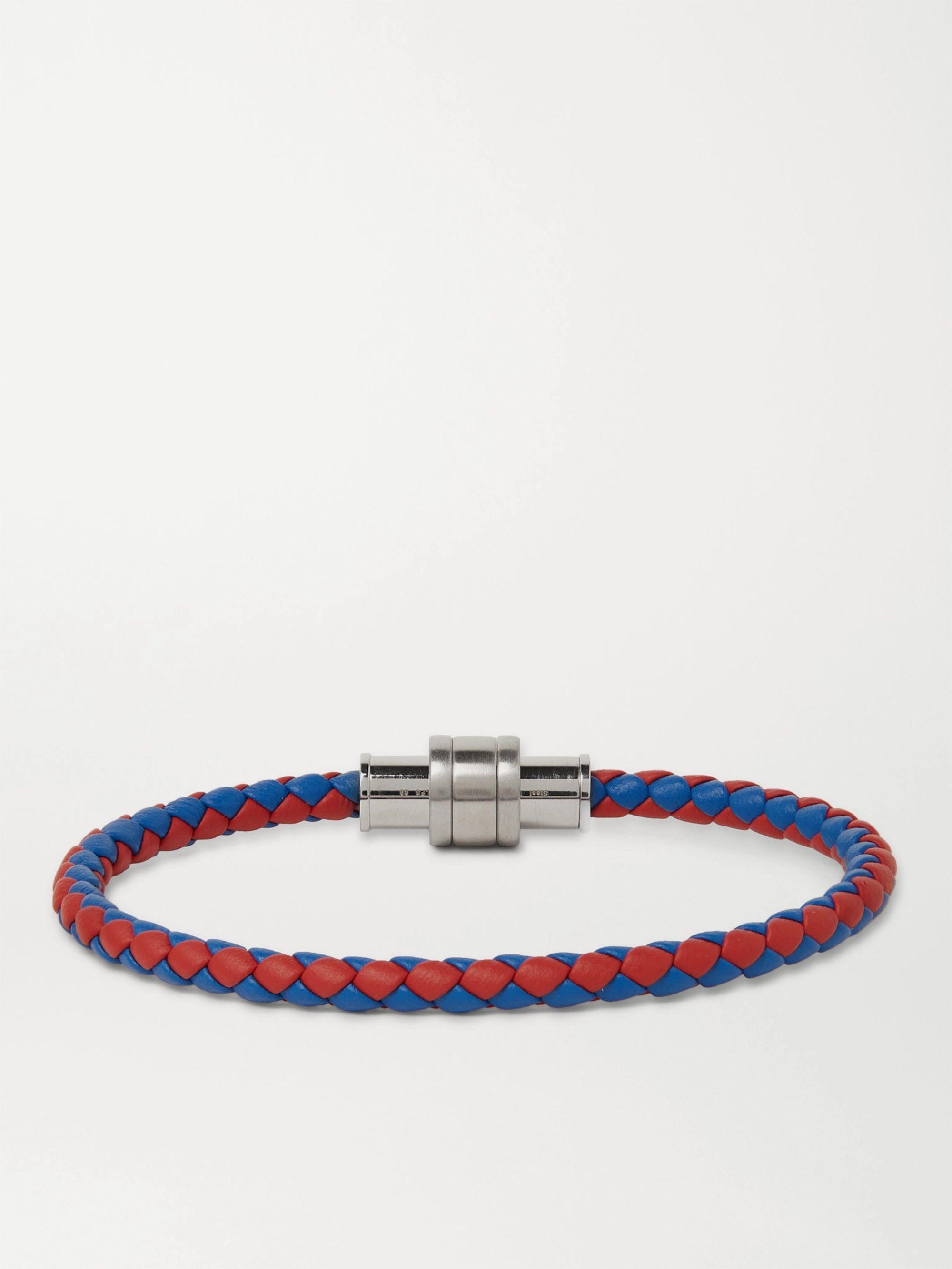 몽블랑 Montblanc Braided Leather and Stainless Steel Bracelet,Red