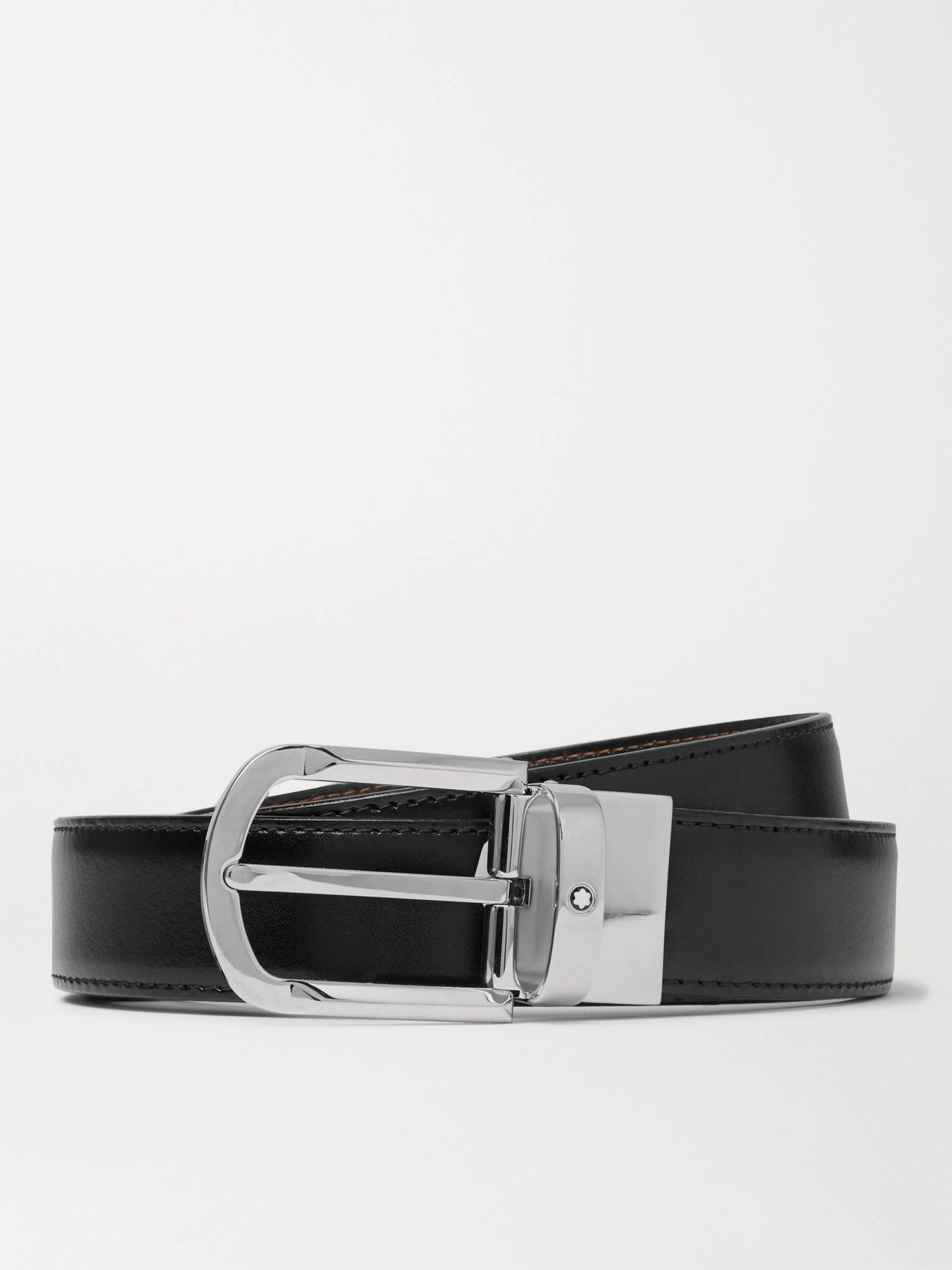 몽블랑 Montblanc 3cm Reversible Leather Belt,Black