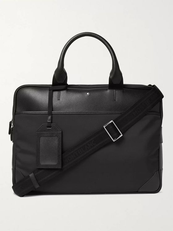 MONTBLANC Sartorial Jet Large Nylon-Panelled Cross-Grain Leather Briefcase