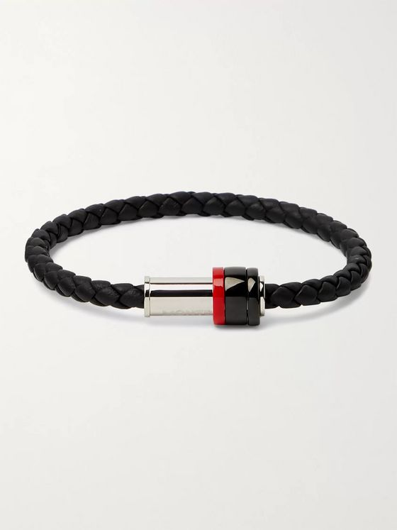 MONTBLANC Braided Leather, Stainless Steel, PVD and Garnet Bracelet