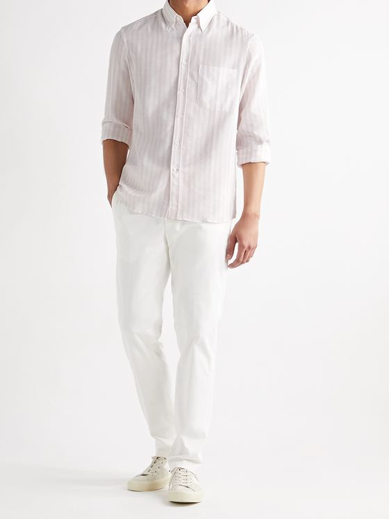BRUNELLO CUCINELLI Button-Down Collar Striped Cotton-Twill Shirt