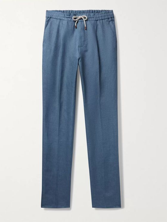 BRUNELLO CUCINELLI Pleated Linen Drawstring Trousers