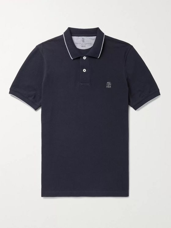 BRUNELLO CUCINELLI Logo-Embroidered Cotton-Piqué Polo Shirt
