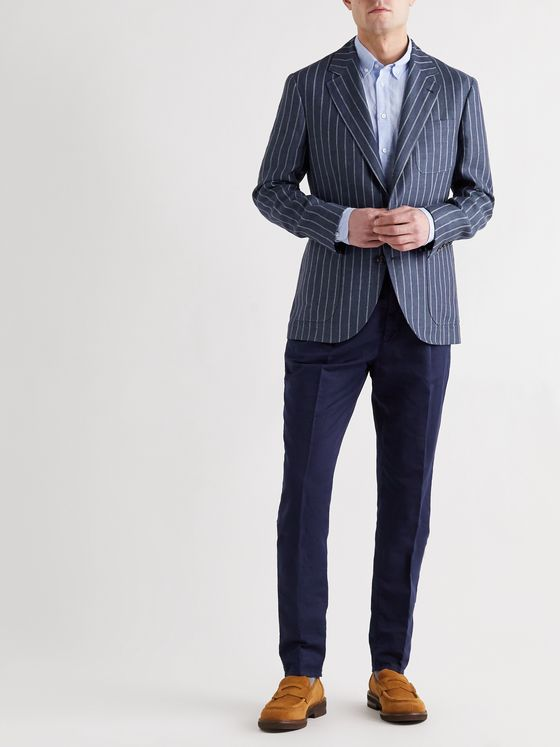 BRUNELLO CUCINELLI Slim-Fit Unstructured Striped Linen Blazer