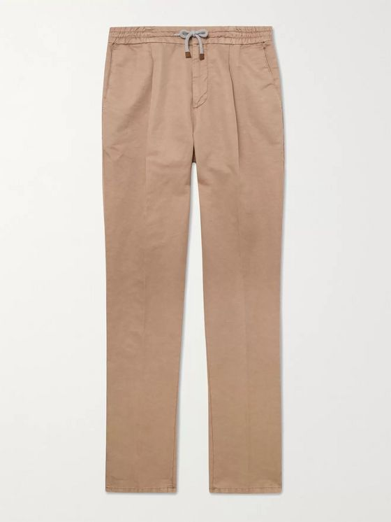 Brunello Cucinelli Slim-Fit Pleated Cotton and Linen-Blend Drawstring Trousers