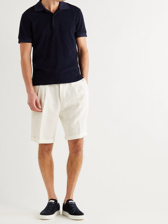 BRUNELLO CUCINELLI Wide-Leg Pleated Linen Drawstring Shorts