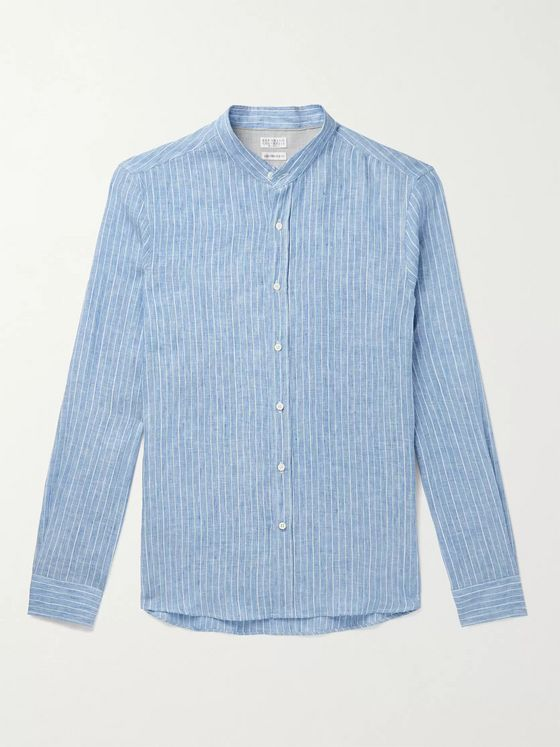 BRUNELLO CUCINELLI Grandad-Collar Striped Linen-Blend Shirt