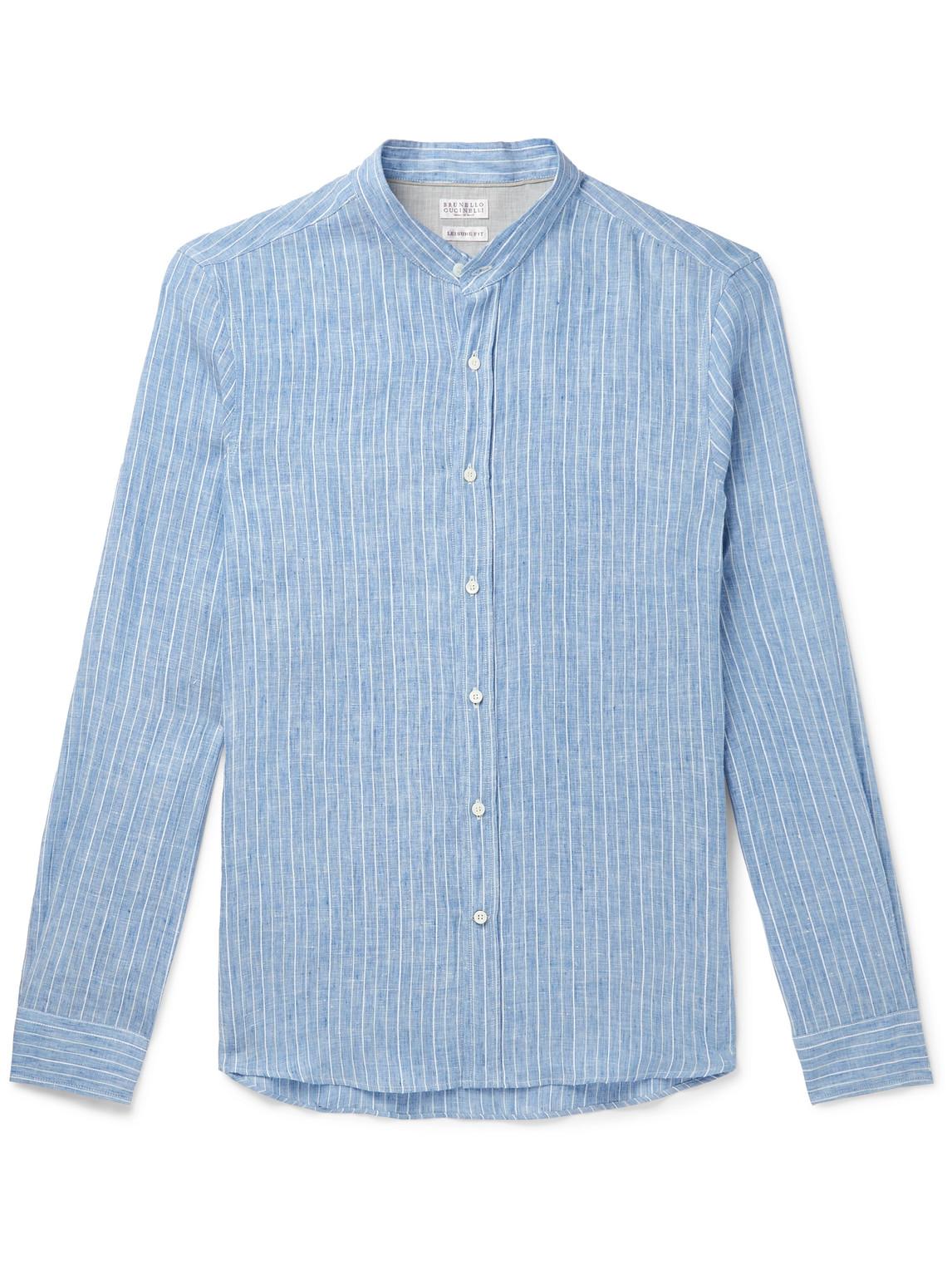 brunello cucinelli - grandad-collar striped linen-blend shirt - men - blue - s