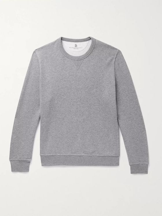 Brunello Cucinelli Melangé Cotton-Blend Jersey Sweatshirt