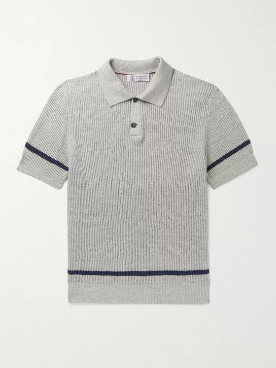 BRUNELLO CUCINELLI Striped Linen and Cotton-Blend Polo Shirt