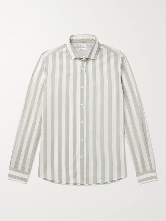 Brunello Cucinelli Striped Cotton-Voile Shirt
