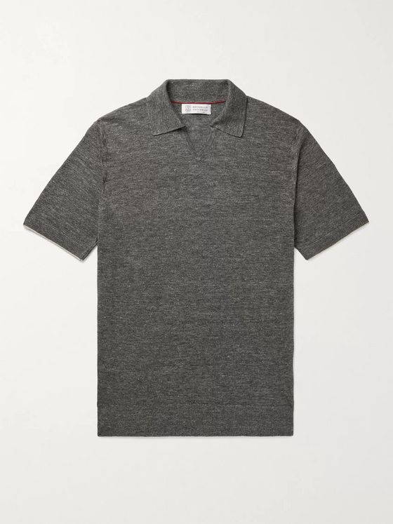 BRUNELLO CUCINELLI Mélange Linen and Cotton-Blend Polo Shirt