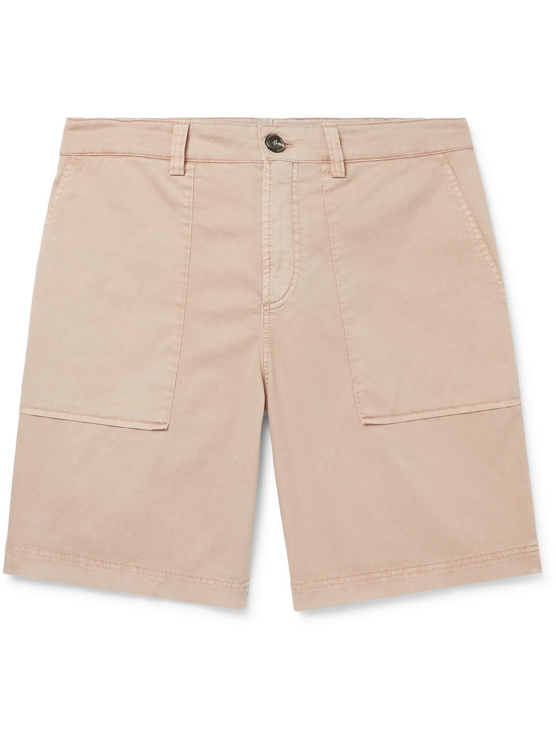brunello cucinelli - cotton-blend twill shorts - men - neutrals - it 48