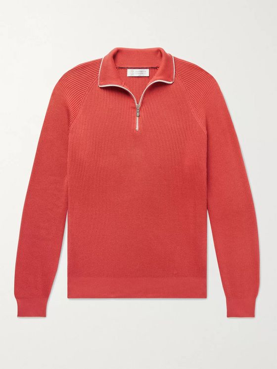 BRUNELLO CUCINELLI Contrast-Tipped Ribbed Cotton Half-Zip Sweater