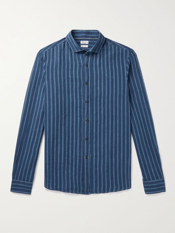 BRUNELLO CUCINELLI Striped Linen Shirt