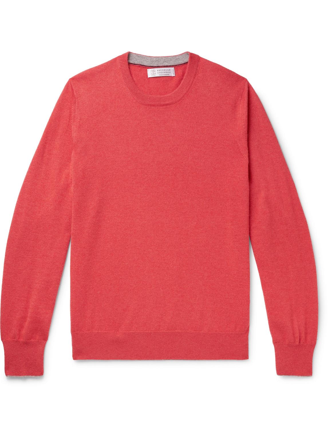 brunello cucinelli - slim-fit contrast-tipped cashmere sweater - men - red - it 46