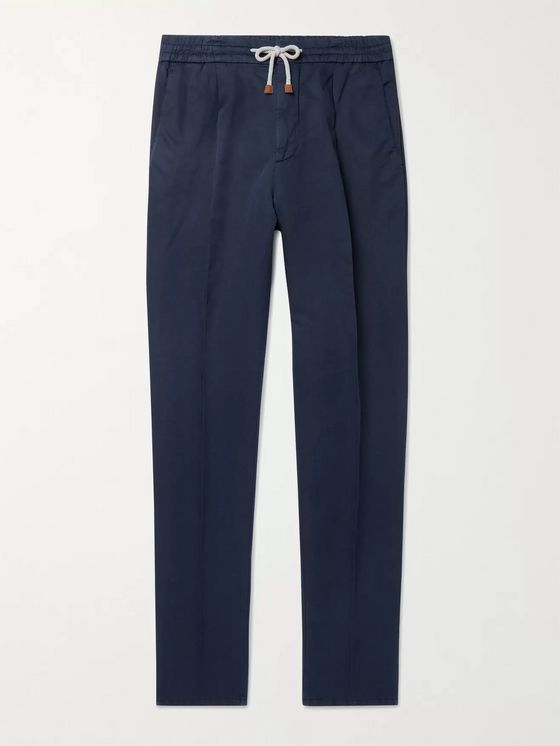 BRUNELLO CUCINELLI Tapered Pleated Linen and Cotton-Blend Drawstring Trousers