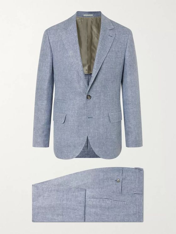 BRUNELLO CUCINELLI Unstructured Mélange Linen, Wool and Silk-Blend Suit