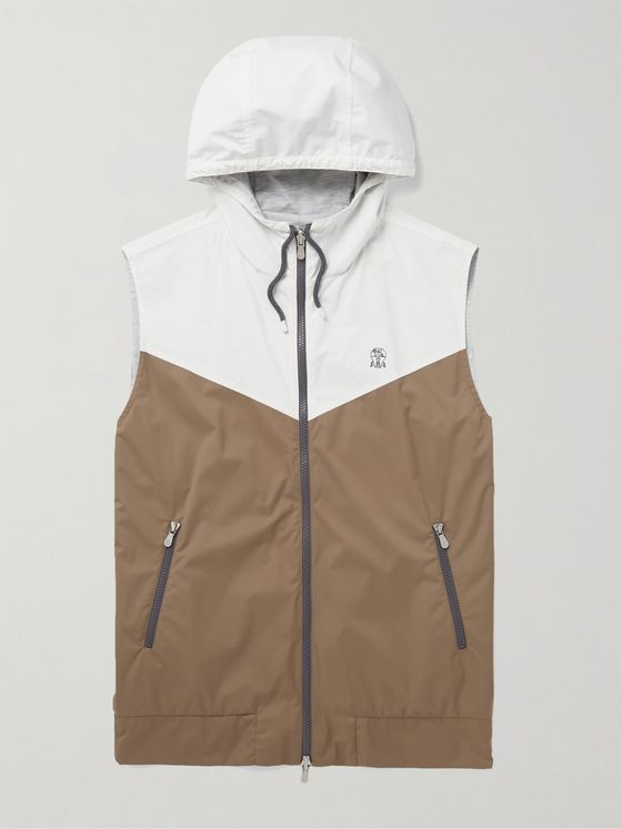 BRUNELLO CUCINELLI Reversible Colour-Block Shell Hooded Gilet