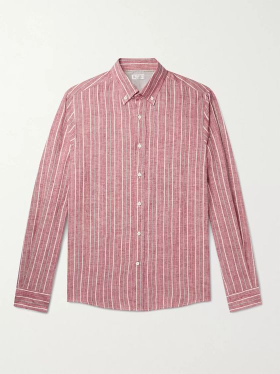 BRUNELLO CUCINELLI Button-Down Collar Striped Linen-Blend Shirt