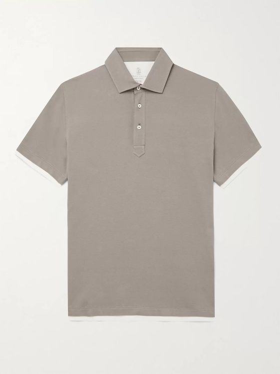 BRUNELLO CUCINELLI Jersey-Trimmed Cotton-Piqué Polo Shirt