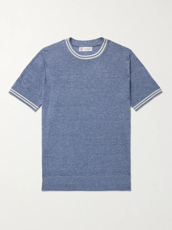 BRUNELLO CUCINELLI Striped Linen and Cotton-Blend T-Shirt