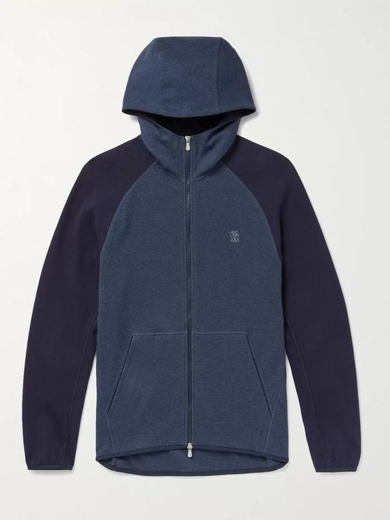 BRUNELLO CUCINELLI Colour-Block Mélange Cotton-Jersey Zip-Up Hoodie