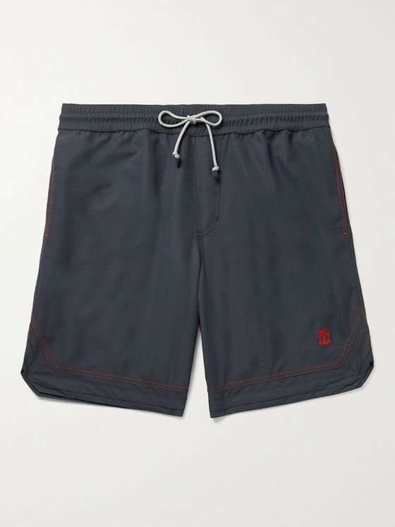 BRUNELLO CUCINELLI Logo-Embroidered Swim Shorts