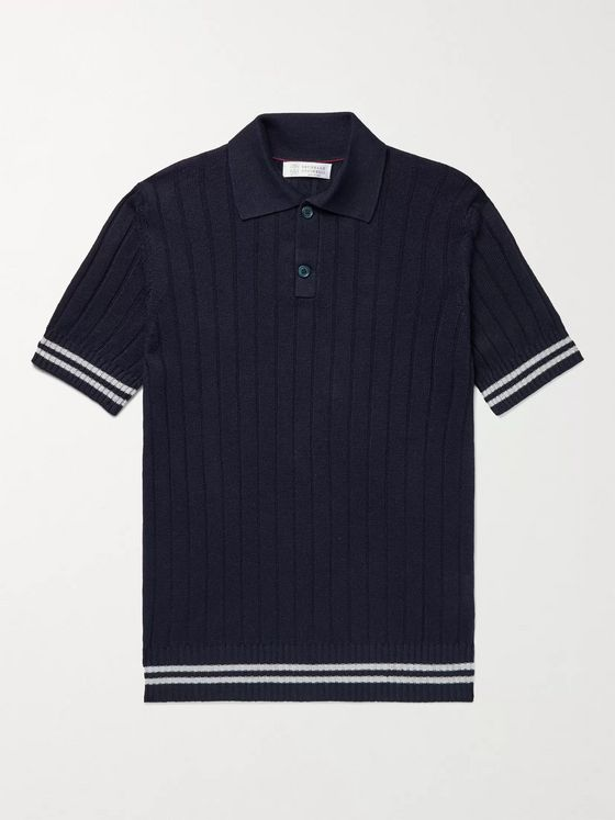BRUNELLO CUCINELLI Slim-Fit Ribbed Striped Linen and Cotton-Blend Polo Shirt