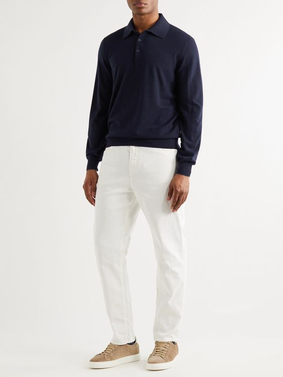 Brunello Cucinelli Contrast-Tipped Cashmere Polo Shirt