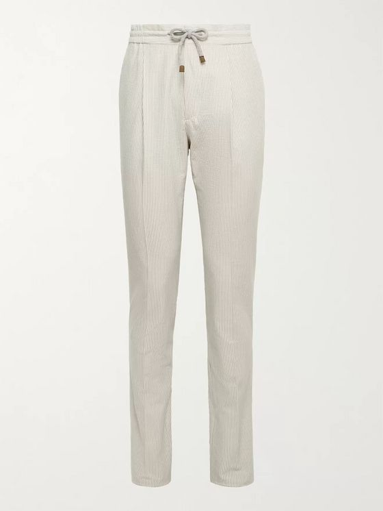 BRUNELLO CUCINELLI Striped Cotton-Blend Drawstring Trousers