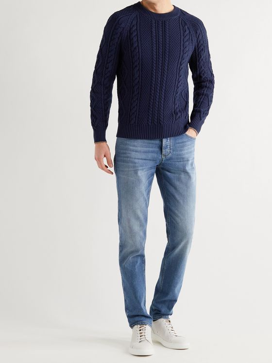 BRUNELLO CUCINELLI Contrast-Tipped Cable-Knit Cotton-Blend Sweater