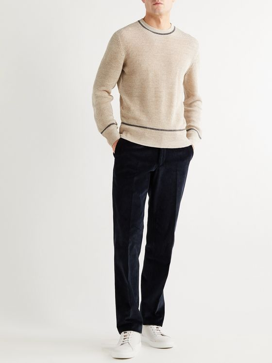 BRUNELLO CUCINELLI Ribbed Linen and Cotton-Blend Sweater