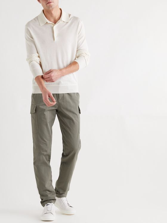 BRUNELLO CUCINELLI Herringbone Cotton-Blend Cargo Trousers