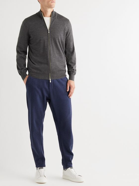 BRUNELLO CUCINELLI Contrast-Tipped Mélange Wool and Cashmere-Blend Zip-Up Cardigan