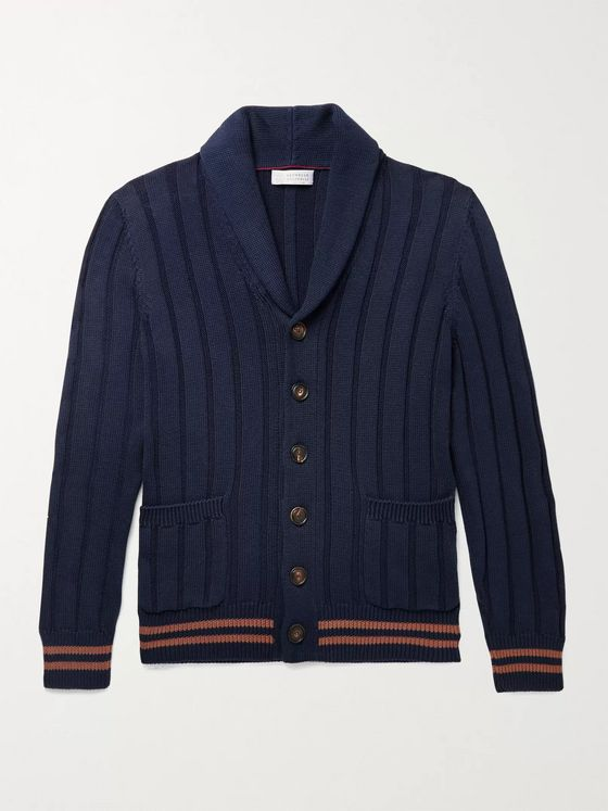 Brunello Cucinelli Shawl-Collar Ribbed Striped Cotton Cardigan
