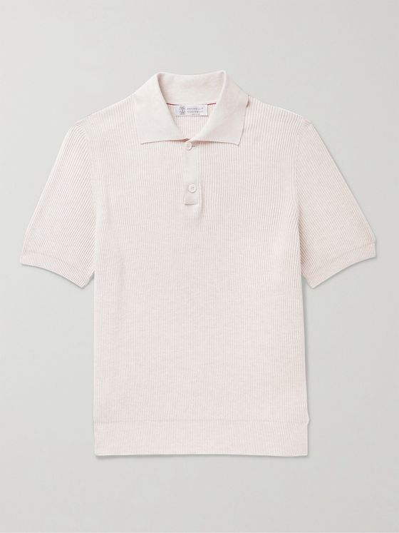 BRUNELLO CUCINELLI Ribbed Cotton Polo Shirt