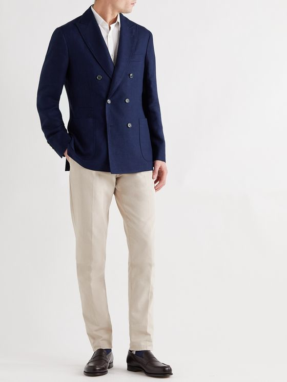 BRUNELLO CUCINELLI Unstructured Double-Breasted Linen, Wool and Silk-Blend Blazer