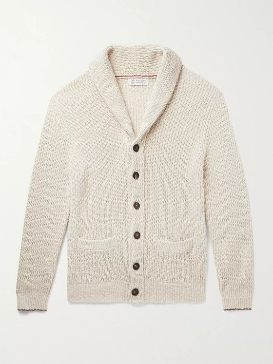 BRUNELLO CUCINELLI Shawl-Collar Contrast-Tipped Ribbed Cotton and Linen-Blend Cardigan